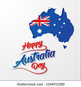 Happy Australia Day calligraphy lettering with flag in blue Australia map. vector illustration. paper art style