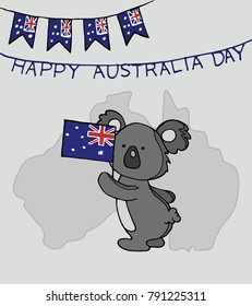 Happy Australia Day card with national flag garland and coala on a drey background.  Suitable for Greeting card, poster and banner. Vector Illustration.