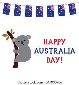 Happy Australia day with a cartoon coala