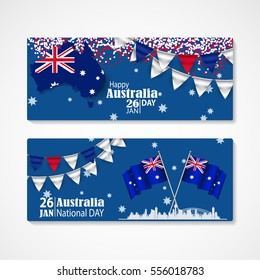 Happy Australia Day Celebration 26 January. Template Design for poster or banner, flyer. Background set.