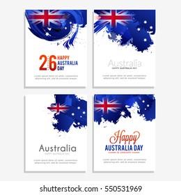 Happy Australia Day Celebration poster or banner Background set.