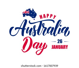 Happy Australia day hand drawn  lettering with map of Australia  and flag. Vector illustration.