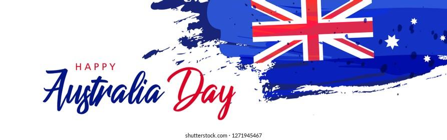 Happy Australia day lettering \u002Fcalligraphy with flag\u002Fmap of Australia . Vector illustration - Vector\n