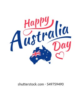 Happy Australia day lettering, calligraphy. Map of Australia with flag. Isolated on white background. Vector illustration EPS 10