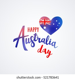 Happy Australia day lettering with flag on a heart. Vector illustration