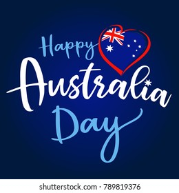 Happy Australia Day lettering and flag in heart greeting card. Vector illustration for 26th january Australia day lettering banner background with national flag colors
