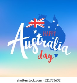 Happy Australia day lettering. Map of Australia with flag on a blurred background. Vector illustration