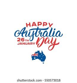 Happy Australia Day lettering. Map of the Australia. 26 January vector illustration.