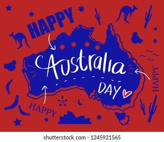 Happy Australia day with map and flag in doodle illustration art. Icon of Australia kangaroo, cactus, opera house, koala and boomerang.