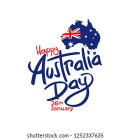 happy australia day map flag banner poster greeting card vector