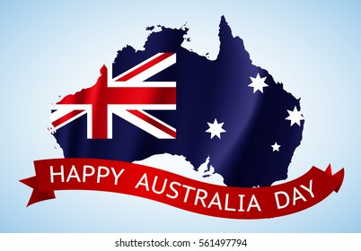 Happy Australia day with national map. Vector illustration