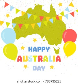 Happy Australia Day poster. Australian map with colourful festive flags, stars and balloons on white glitter background. Fun celebration concept. Vector illustration.