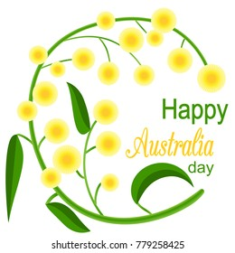 Happy Australia Day poster. festive wreath with flowers and acacia leaves