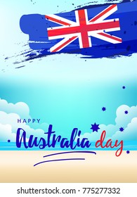 Happy Australia day vector illustration with  Hand lettering text and Map of Australia with flag can be used as banner, poster, flyer for promotion and social media as well.