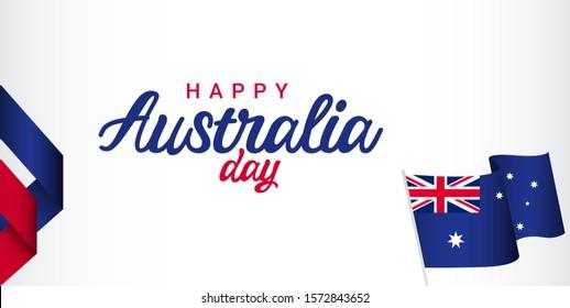 Happy Australia day vector template. Design for digital banner or print.