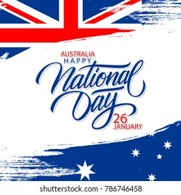 Happy Australia National Day, january 26 greeting card with hand lettering holiday greetings and brush stroke in colors of the australian national flag. Vector Illustration.