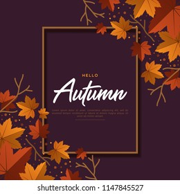 Happy Autumn greeting background with dry leaves and lettering word. vector graphic.