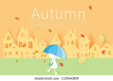 Happy Autumn season landscape with autumn leaves shopping for sale branches and welcome monsoon season in the city.