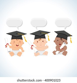 Happy babies graduate. Vector illustration of multiracial babies with mortarboards and certificates.
