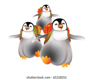 Happy babies penguins going back to nursery