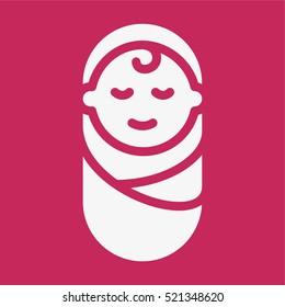 Happy Baby Child Kid Minimalistic Flat Solid Icon Pictogram Symbol