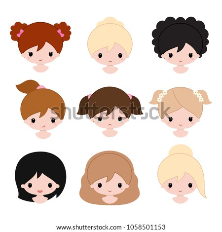 happy baby girls faces cartoon vector stock vector royalty free