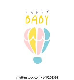 Happy baby logo colorful hand drawn vector Illustration