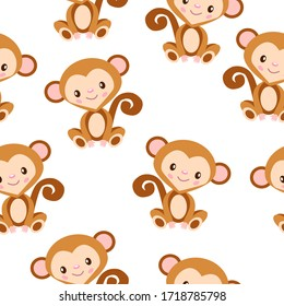 Happy baby monkey sitting. Brown and beige. Seamless pattern. Flat cartoon style. Funny and cute character. African animal. Nature and ecology. For postcards, wallpaper, textile and wrapping paper