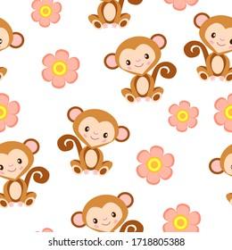 Joyeux bébé singe assis. Marron et beige. Arrière-plan blanc. Motif harmonieux. Style dessin animé. Drôle et mignon. Animal africain. Nature et écologie. Pour les cartes postales, le papier peint, le textile et le papier d'emballage