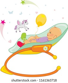Happy baby in a rocking chair. Vector