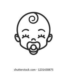 Happy baby sucking a pacifier. Child icon