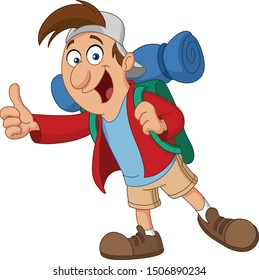 Happy backpacker travel man hitchhiking