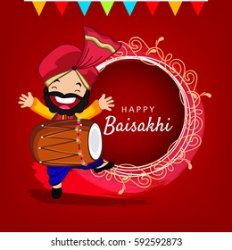 Happy Baisakhi, Vector Illustration based on Happy Man dancing showing celebration with Dhol and Vintage Floral Frame.