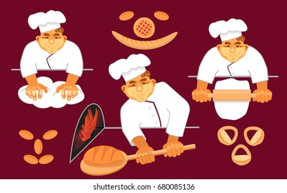 Happy bakers making bread. Loaf, bread, pizza, patty. Hand drawn in cartoon style. Vector illustration.
