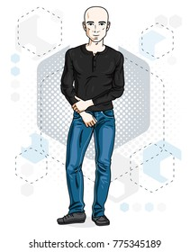 Happy bald young adult man standing. Vector character wearing casual clothes like jeans and shirt.