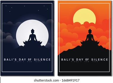 Happy Bali's Day of Silence and Hindu New Year Vector Illustration with Pura Ulun Background, Nyepi Day and Hari Raya Saka Poster Banner and Other Usage, Holy Bali Holy Place Indonesia, Hindu Ceremony
