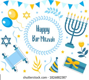 Happy bar mitzvah set. Collection of design elements for Jewish holiday birthday with menorah, torah, balloons, gifts. Vector illustration, clip art