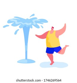 Happy Barefoot Man Splashing and Playing with Water in Hot Summer Time Season Weather. Male Character Running Wet, Fountains on Street. Leisure, Summertime Relax, Fun. Cartoon Vector Illustration
