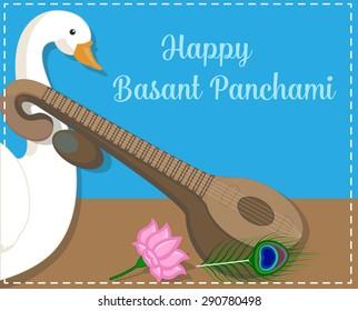 Happy Basant Panchami Greeting Banner - Spiritual Hindu