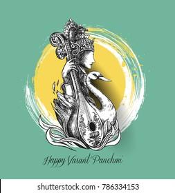 Happy Basant Panchami - Greeting Card, vector illustration.