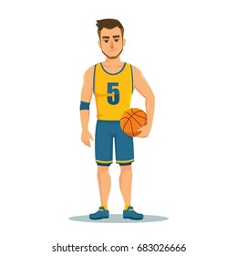 Happy basketball player in uniform with ball isolated on white background. Cartoon vector illustration
