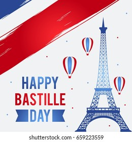 Happy Bastille Day, 14 July. Viva France National Day. Vector Illustration. Suitable for poster, banner, campaign, and greeting card