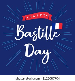 Happy Bastille Day banner with inscription and national flag on beams. National holiday in France 14 of july vector greetings card. Celebrate French Republic anniversary 1789 year