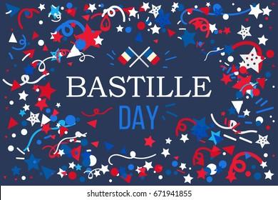 Happy Bastille Day Celebration Banner. France Independence Greeting. Vector
