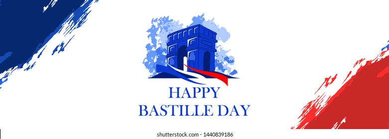 Happy bastille day with French national monument vector illustration. Suitable for greeting card, poster and banner