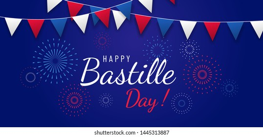 Happy Bastille day greeting card or banner design with text and fireworks illustration, with flags on blue dark background. - Vector