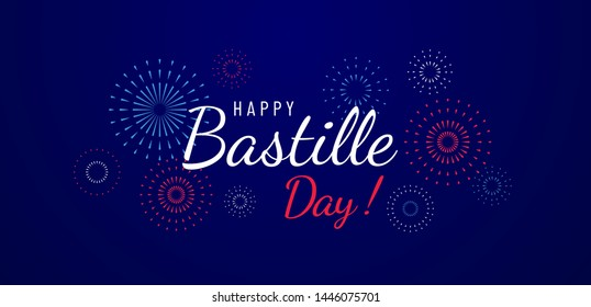 Happy Bastille Day greeting card design with fireworks illustration on blue background. National holiday in France. - Vector