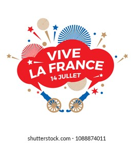 "Happy Bastille Day. National holiday. A holiday sign with a salute and the words ""Long live France. July 14"" in French."