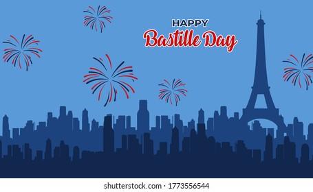 happy bastille day poster illustration