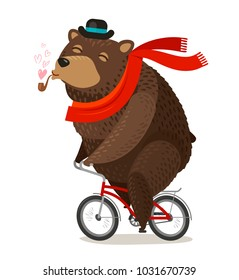 Happy bear riding bike. Pleasure trip concept. Cartoon vector illustration